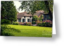 typical dutch county side of houses and gardens, Giethoorn Greeting Card