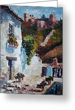 Typical Street Of Granada. Original Acrylic On Paper Greeting Card