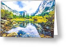 Typical View Of The Yosemite National Park Greeting Card
