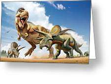 Tyrannosaurus Rex Fighting With Two Greeting Card by Mohamad Haghani