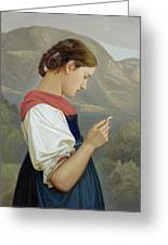 Tyrolean Girl Contemplating A Crucifix Greeting Card