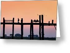 U-bein Bridge At Dawn Greeting Card