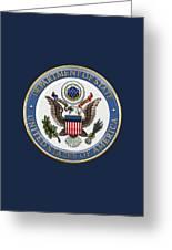 U. S. Department Of State - D O S Emblem Over Blue Velvet Greeting Card