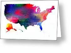 U S Map Color  Greeting Card