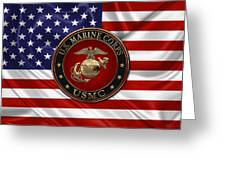 U. S.  Marine Corps - N C O   E G A Special Edition Over  U. S.  Flag Greeting Card