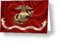 U. S.  Marine Corps - N C O Eagle Globe And Anchor Over Corps Flag Greeting Card