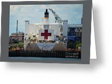 U S N Hospital Ship, Comfort In Boston's Dry Dock Greeting Card