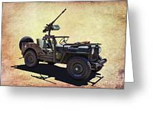 U. S.rmy Jeep With Assualt Weapons Greeting Card