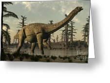 Uberabatitan Dinosaur Walking Greeting Card
