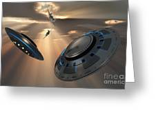 Ufos And Fighter Planes In The Skies Greeting Card