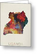 Uganda Watercolor Map Greeting Card