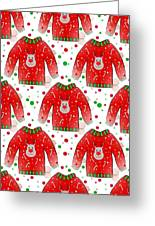 Ugly Christmas Sweater Pattern Greeting Card