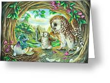 Ugly Duckling - Dragon Baby And Owls Greeting Card