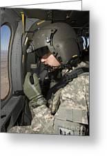 Uh-60 Black Hawk Crew Chief Looking Greeting Card