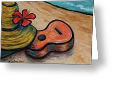 Ukulele And Hibiscus Flower On  A Hawaii Beach Greeting Card