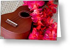 Ukulele And Red Flower Lei Greeting Card