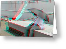 Umbrella Man - Use Red-cyan 3d Glasses Greeting Card