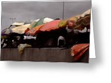 Umbrellas In A Ghana Market Greeting Card