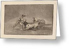 Un Caballero Espanol Mata Un Toro Despues De Haber Perdido El Caballo (a Spanish Knight Kills The Bull After Having Lost His Horse) Greeting Card
