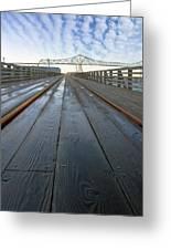 Under Astoria Megler Bridge On Riverwalk Greeting Card