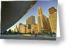 Under The Bean And Chicago Skyline Greeting Card