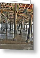 Under The Boardwalk Pier Sunbeams  Greeting Card