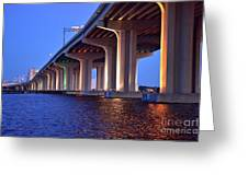Under The Bridge With Lights 01175 Greeting Card