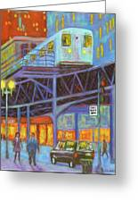 Under The El Tracks Greeting Card