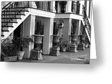 Under The Steps In Savannah - Black And White Greeting Card