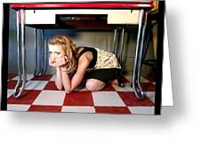 Under The Table Greeting Card