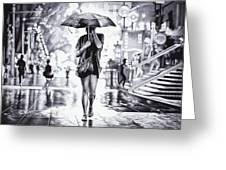 Under The Umbrella - Ballpoint Pen Art Greeting Card