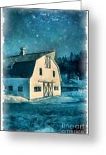 Under The Vermont Moonlight Watercolor Greeting Card