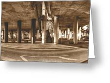 Under The Viaduct B Panoramic Urban View Greeting Card
