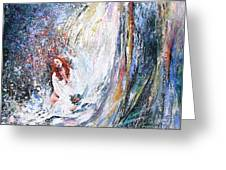 Under The Waterfall Greeting Card