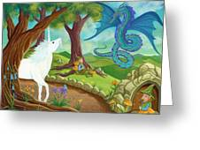 Unicorn And Dragon And Fairies And Elves - Illustration #9 In The Infinite Song Greeting Card