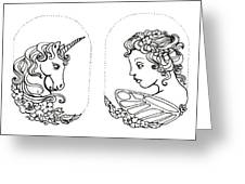 Unicorn And Fairy Cameo Set Greeting Card