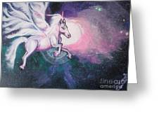 Unicorn And The Universe Greeting Card