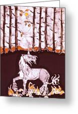 Unicorn Below Trees In Autumn Greeting Card by Carol  Law Conklin