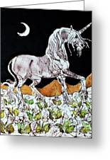 Unicorn Over Flower Field Greeting Card by Carol  Law Conklin