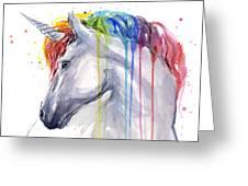 Unicorn Rainbow Watercolor Greeting Card