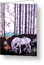 Unicorn Rests In The Forest With Fox And Bird Greeting Card