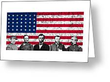 Union Heroes And The American Flag Greeting Card