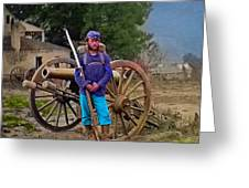 Union Soldier With Cannon Greeting Card