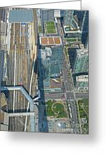 Union Station Train Yard Toronto From The Cn Tower Greeting Card