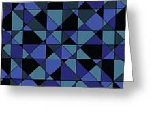 Unique Bold Hip Blue Cyan Grey Black Geometric Pattern Greeting Card