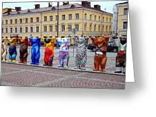 United Buddy Bear Statues At Helsinkis Senate Square Greeting Card