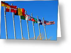 United We Stand Flags Art Greeting Card