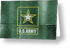 United States Army Logo On Green Steel Tank Greeting Card