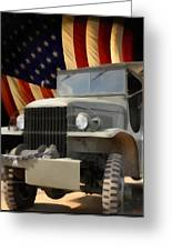 United States Army Truck And American Flag  Greeting Card