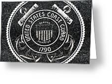 United States Coast Guard Emblem Polished Granite Greeting Card